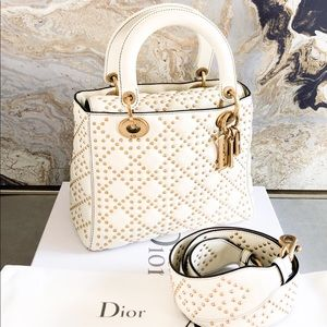 Christian Dior Medium Lady Dior Studded Tote